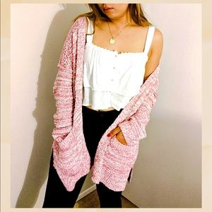 🎀 Abercrombie & Fitch Chunky Pink Knit Cardigan🎀